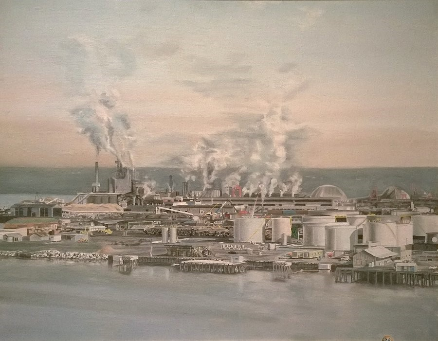 """Port of Tacoma"", oil on canvas, 1977, Terry O. Herndon Collection"