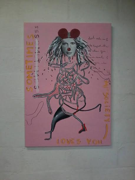 "Society Loves You Sometimes, Acrylic on canvas, 39"" x 27"", 100 x 70 cm,"