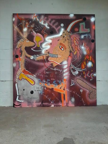 """Hairy Strontanoids,"" by Marie Vartenberg. Acrylic, Spray paint on canvas, 70"" x 63"", 180 x 160 cm. This photograph is courtesy of Marie Vartenberg."