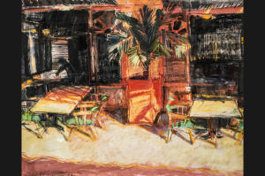 """Cafe in Xabia,"" courtesy of Helen Shulkin, helen-shulkin.com"