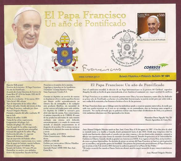 Stamp commemorating the first anniversary of Pope Francis's Pontificate.
