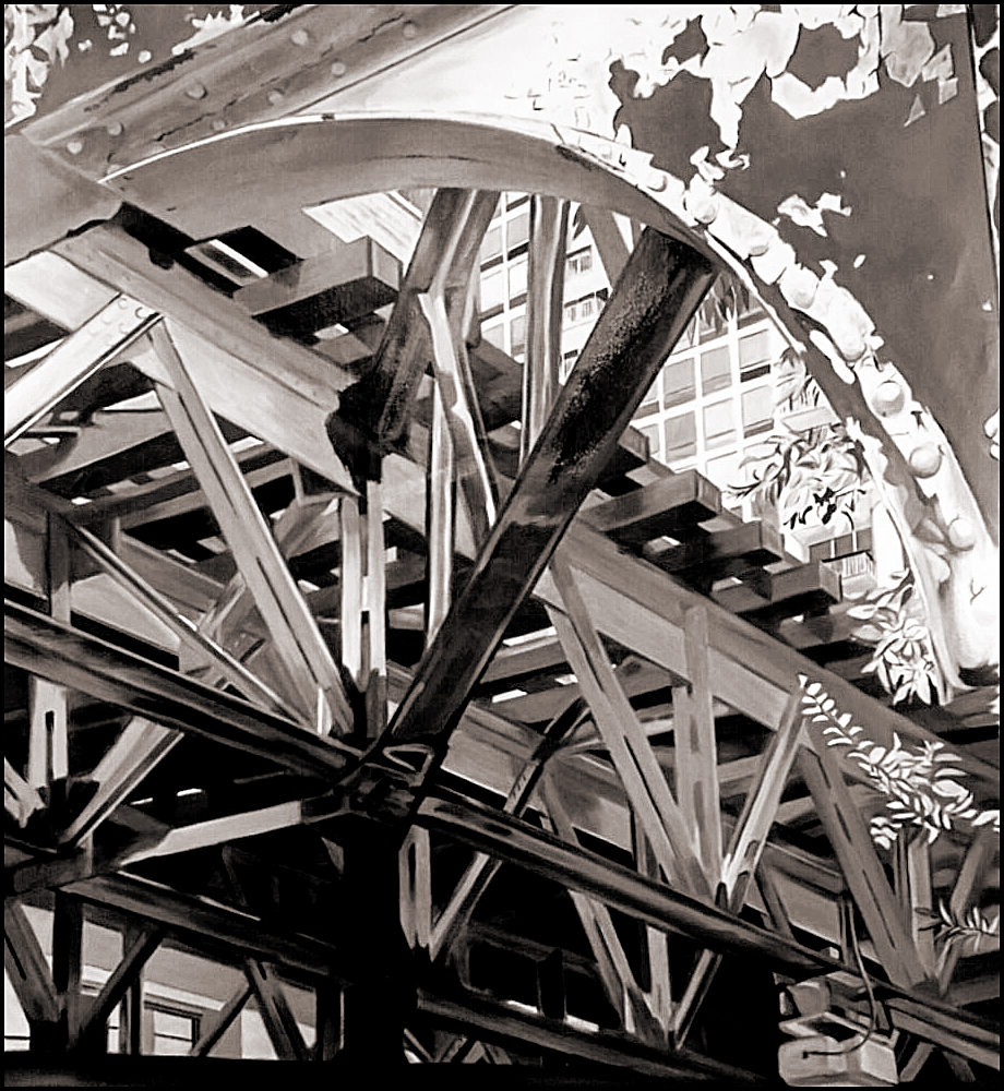 """under the el,"" work in progress by Allan Gorman. This photograph is courtesy of Allan Gorman."