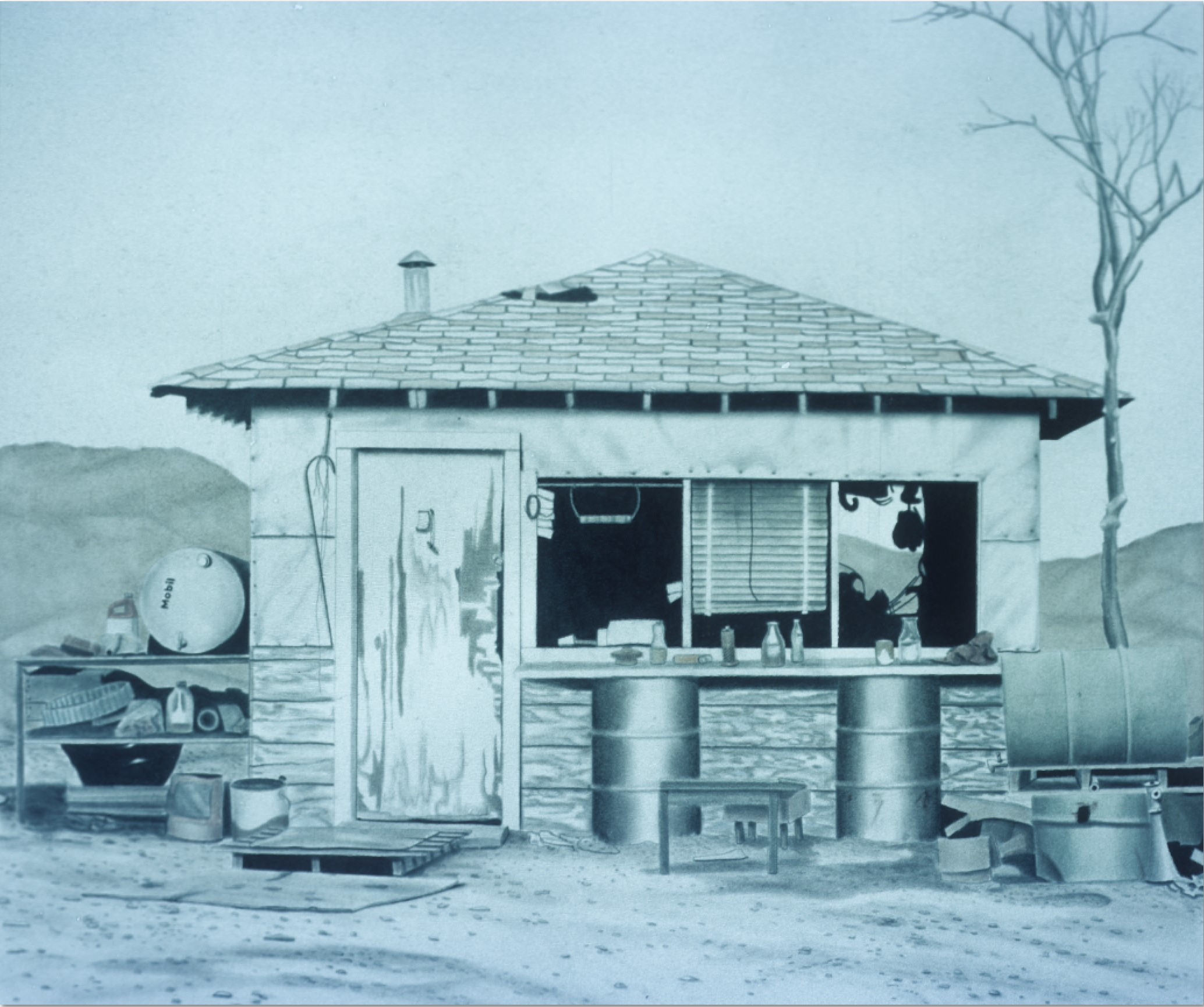 """Jan Nelson, """"out to Lunch,"""" oil pastel and graphite on rag, 1975. This photograph is courtesy of Jan Nelson."""